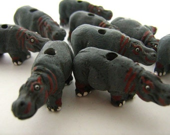 4 Large Hippo Beads