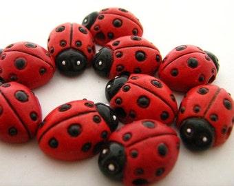 10 Large Lady Bug Beads - LG88