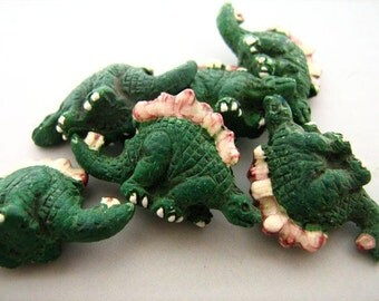 4 Large Stegosaurus Beads - Peruvian Beads - Ceramic Beads - Animal Beads - Dinosaur Beads - LG121