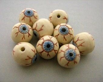 10 Ceramic Beads - Tiny Eyeball Beads - CB786