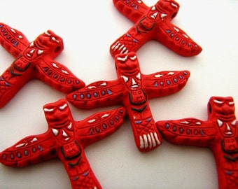 10 Large Red Totem Pole Beads