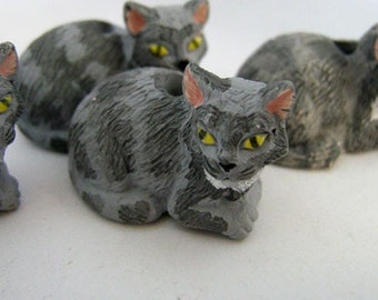 10 Ceramic Animal Beads -  Large Grey Cat Beads - LG179