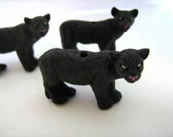 4 Large Panther Beads - LG197