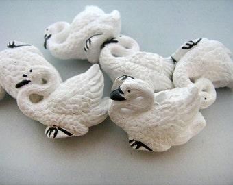 4 Large Swan Beads - peruvian, ceramic, animal, bird - LG209