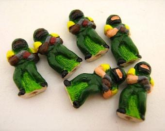 10 Tiny Football Player Beads