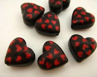 4 Tiny Chocolate Heart Beads - CB808