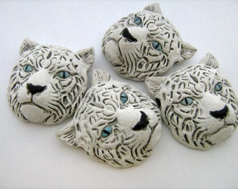 10 Large White Tiger Head  Beads