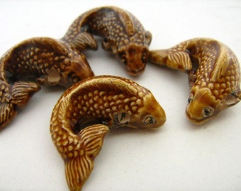 4 Large Koi Beads - gold