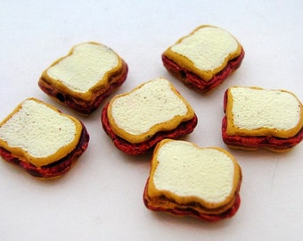 20 Tiny Peanutbutter and Jelly Sandwich Beads - CB827