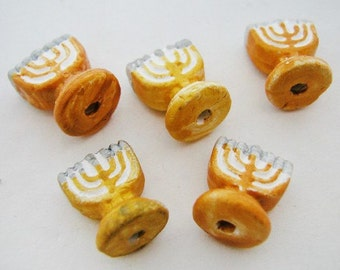 20 Tiny  Menorah Beads