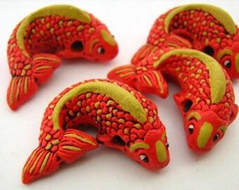 4 Large Koi Beads - Orange - LG236 - fish, animal, chinese, peruvian