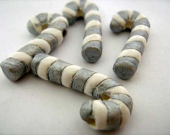 4 Large Candy Cane Beads - silver
