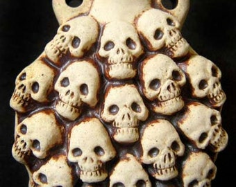 Highfired Bottle bead - Skulls - HFBOT65