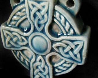 Raku Ceramic Bottle Bead - Celtic Cross - RAKBOT75