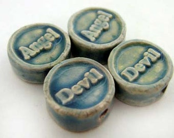 4 Tiny Affirmation Beads - Angel Devil