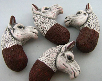 4 Large Brown and White Llama Head Beads