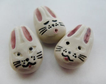 10 Large Happy Bunny Beads