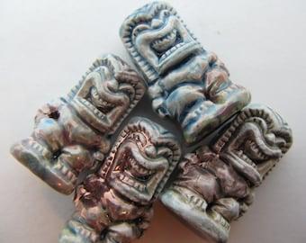 10 Raku Tiki Beads - Ku - RAK291