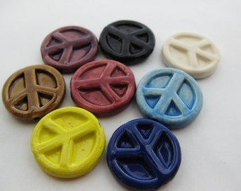 10 Ceramic Beads - Large Mixed Peace Sign - LG428