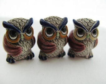 10 Large Owl Beads - red wings - Ceramic Beads - Peruvian Beads - LG457
