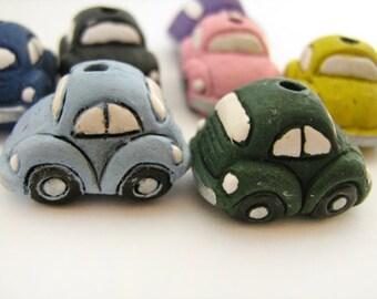 10 Ceramic Beads - Large Bug Style Car Beads - LG329