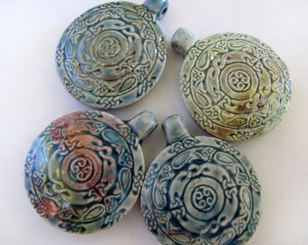 4 Large Cinnabar Style Pendants - beads