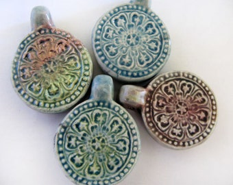 4 Raku Pretty Flower Pendants - beads