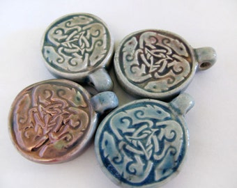 4 Raku Animal Pendants - beads