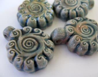 10 Raku Swirly Flower Pendants - beads  - RAK176