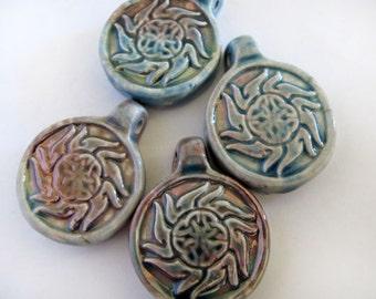 4 Raku Swirly Flower Pendants - beads