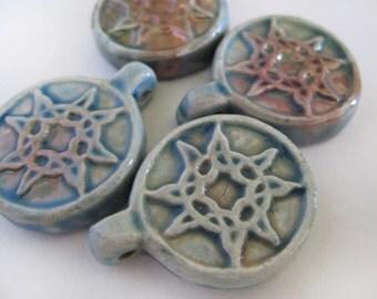 4 Raku Sun Burst Pendants - beads - RAK165
