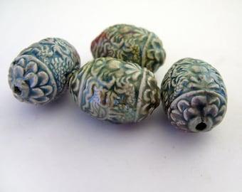 4 Raku Oval Dragon Beads
