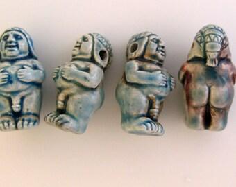 4 Raku Father Nature Beads