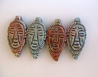 4 Raku Mask Beads