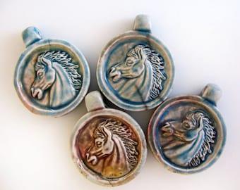 4 Raku Horse Head Pendants - Beads - RAK278