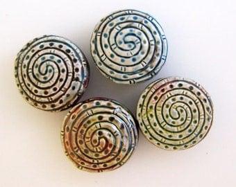 10 Raku Spiral Beads - RAK251