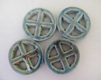 10 Raku Circle With Cross Pendants - RAK298