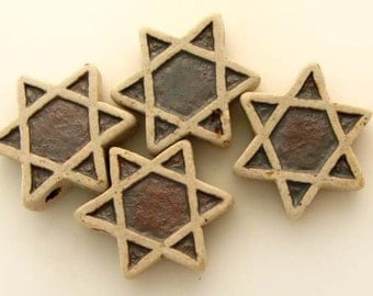 10 Highfired Star of David Beads - Jewish, peruvian, ceramic, holiday, ethnic - HIFIRAK265