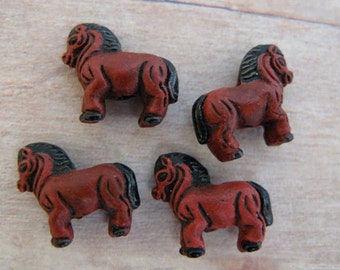 20 Tiny Horse Beads - brown - CB36