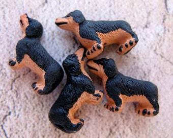 20 Tiny Brown and Black Dauchshund Beads