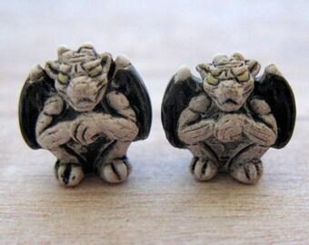 4 Tiny Gargoyle Beads - charms, ceramic, peruvian - CB270
