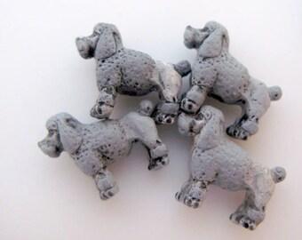 10 Tiny Grey Poodle Beads