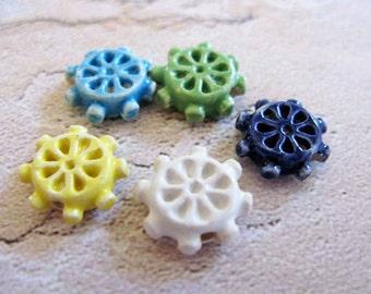 20 Tiny Ship's Wheel Beads - mixed