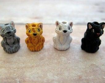 10 Tiny Sitting Cat Beads - mixed - CB98M