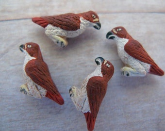 20 Tiny Red Tail Hawk Beads - CB325