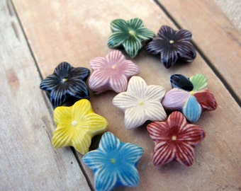 10 Tiny Mixed Star flower Beads