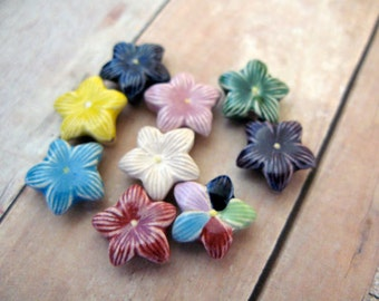 4 Tiny Mixed Star flower Beads