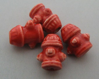 4 Tiny Fire Hydrant Beads - CB471