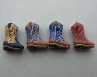 4 Tiny Cowboy Boot Beads - mixed - CB511m