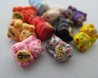 10 Tiny Good Luck Kitty Beads - mixed